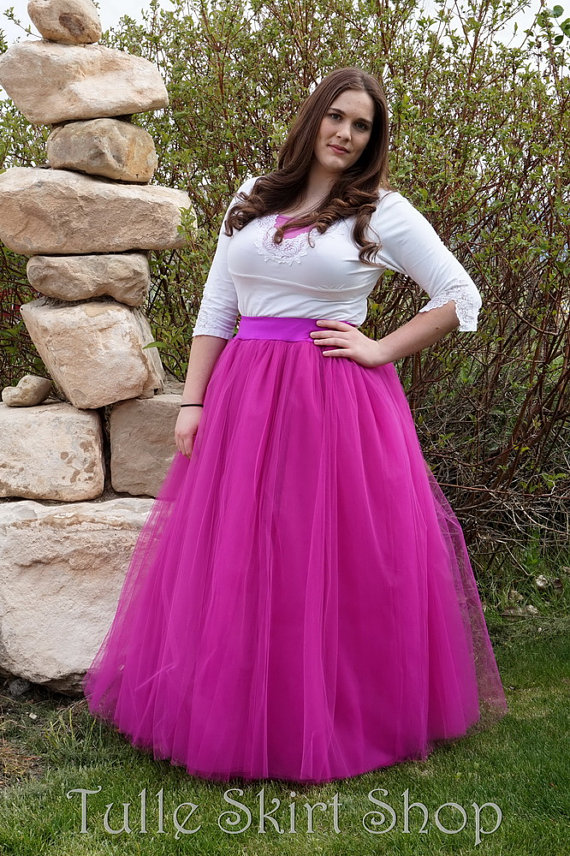 91832e4426 Fuchsia Tulle Skirt - Hot Pink Full length Tutu - Long Adult Skirt or  Petticoat - Custom Size