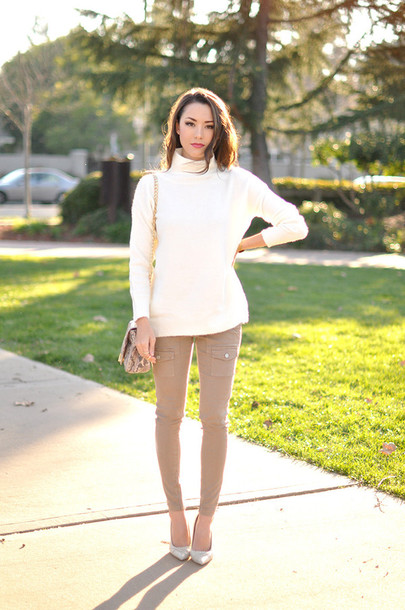 hapa time blogger skinny pants beige turtleneck