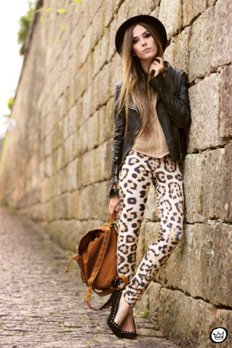 fashion coolture pants jacket t-shirt hat jewels shoes leopard print leggings leopard leggings backpack bag suede backpack suede brown backpack printed leggings animal print sweater nude sweater black leather jacket leather jacket black jacket pointed toe pumps pumps black pumps high heel pumps black hat fall outfits