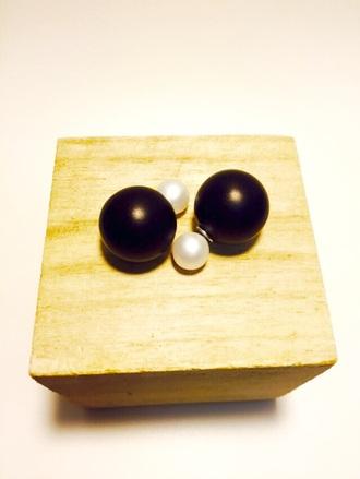 jewels ball earrings black and white stud earrings jewelry earrings double sided earrings front back earrings 360 earrings