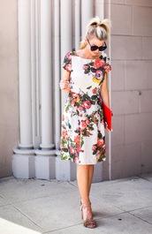 elle apparel,blogger,bag,floral dress,nude heels,spring dress,spring outfits,clutch