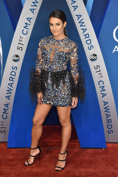 dress mini dress lea michele cma awards sandal heels feathers embroidered dress