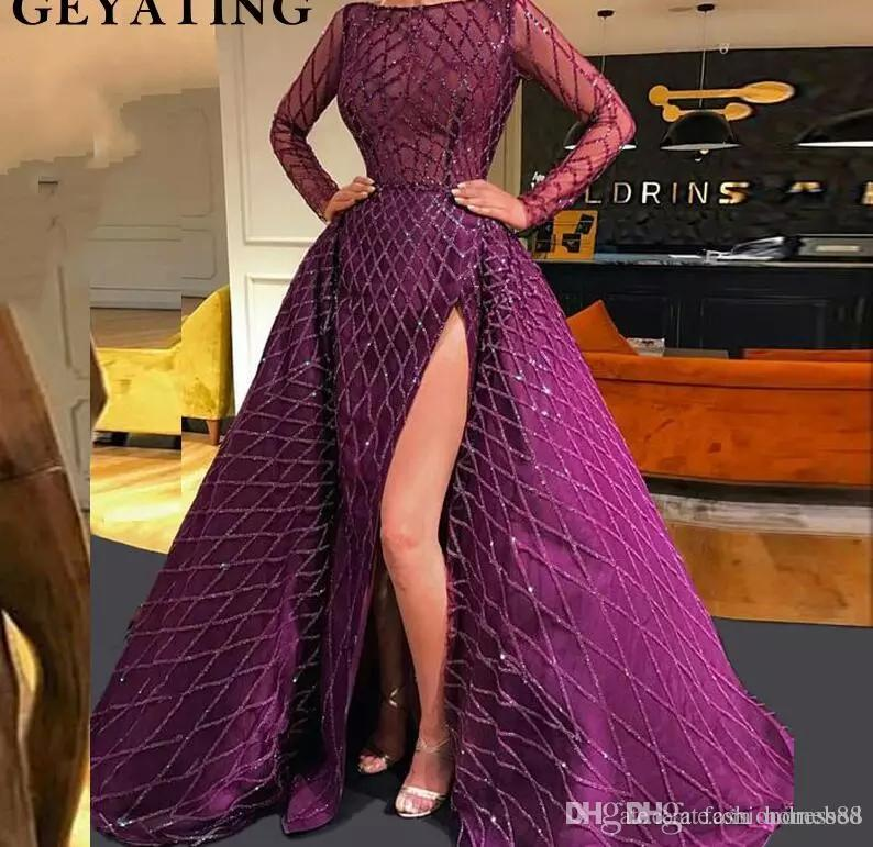 Purple High Side Split Mermaid Prom Dresses With Detachable Train Party Gowns Dubai Turkish Arabic Evening Dresses 2019 Long Sleeves Gowns Womens Clothing Uk Womens Dress From Homebed, $216.14| DHgate.Com