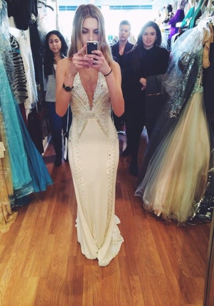 dress prom prom dress white dress long prom dress