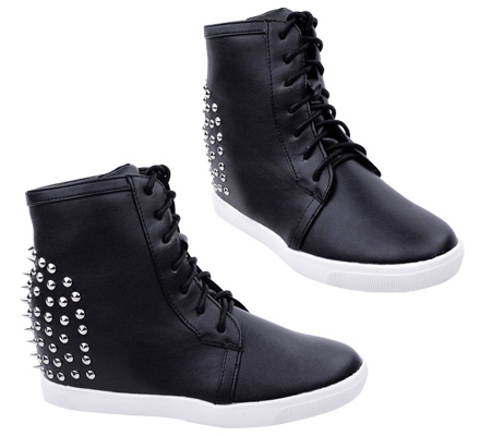 LADIES WOMENS SPIKE STUD HIDDEN HEEL WEDGE HI TOP SNEAKER BOOT TRAINER SHOE SIZE | eBay