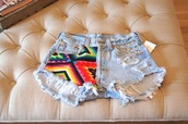 shorts,studded,studded shorts,aztec,denim shorts
