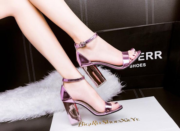 shoes shanghaitrends metallic shoes metallic shiny pink reflective ss16 sandals high heel sandals ankle strap heels