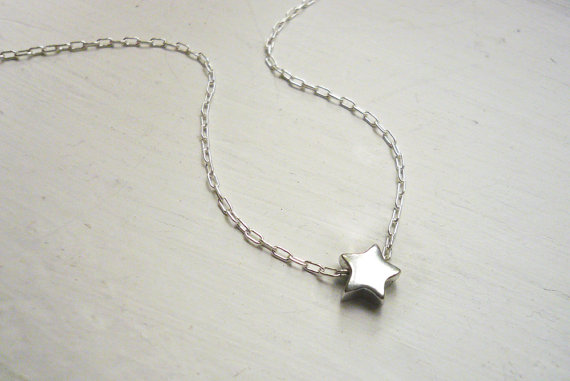 Tiny silver star necklace in sterling silver  sweet by roundabout