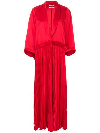 coat pleated women silk red