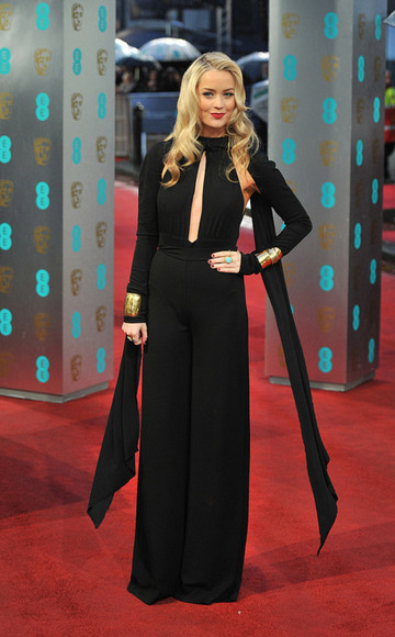 bracelets black jewels golden jumpsuit laura whitmore scarf BAFTA 2013