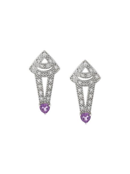 V Jewellery women earrings silver grey metallic jewels