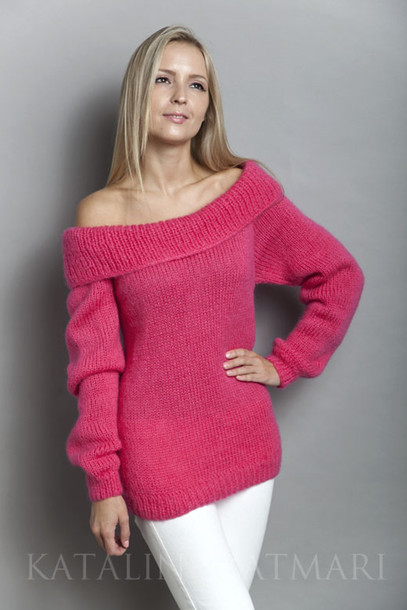 sweater off-shoulder sweater pink sweater raglan sleeved sweater mohair sweater long sleeved sweater