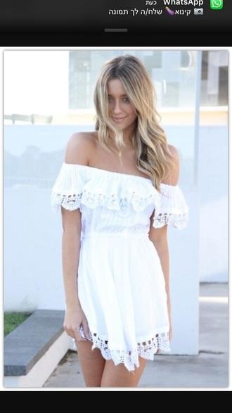 dress white white dress boho boho chic boho dress summer summer dress summer outfits off the shoulder fashion vibe fashion blonde hair love