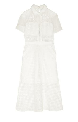 dress white white dress white midi dress midi dress mesh dress mesh self portrait