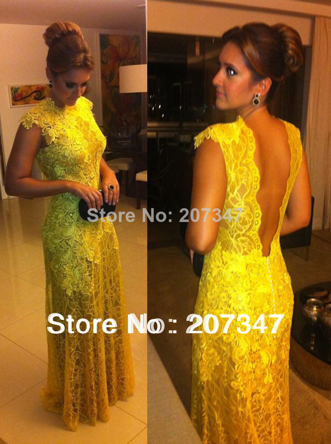 2014 Yellow Selling Custom Made kate middleton Chiffon V neck Lace beading floor length celebrity dresses yellow evening dresses-in Evening Dresses from Apparel & Accessories on Aliexpress.com