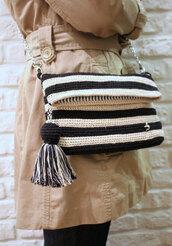 bag,purse,tassel,crochet,etsy,cotton bag,etsy shopping,crossbody bag,chain bag,stripes,foldover bag,clutch