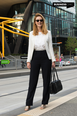 business chic blogger pants top shoes jacket bag sunglasses