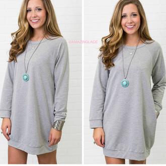 dress sweatshirt dress pockets amazinglace long sleeves heather grey raglan