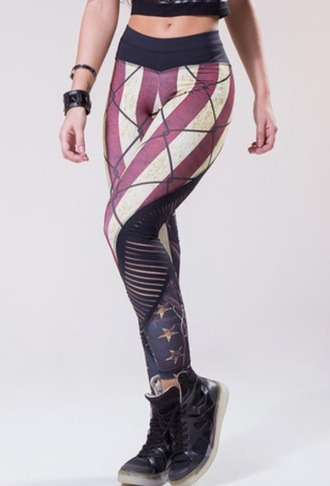pants stripes american flag leggings