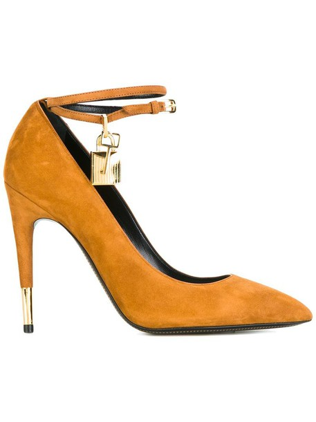Tom Ford ankle strap women pumps leather nude suede shoes