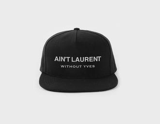hat cap black quote on it ysl saint laurent designer