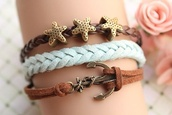 jewels,bracelets,anchor,summer,bracelet leather,starfish,sea,stars,blue,brown,jewelry
