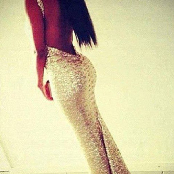 dress long dress beautiful elegant dress shiny gold gold sequins dress prom gown sexy dress low back dress sparkle prom dress glitter backless pretty girl