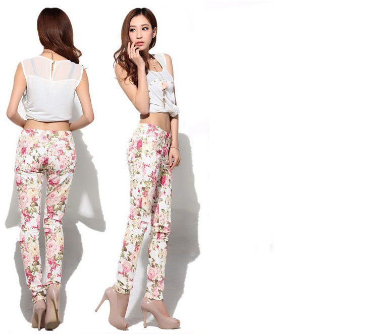 2014 Women Vintage Slim Floral Cotton Jeans Casual Flower Print Fashion Skinny Straight Denim Pencil Pants H0276-in Pants & Capris from Apparel & Accessories on Aliexpress.com | Alibaba Group
