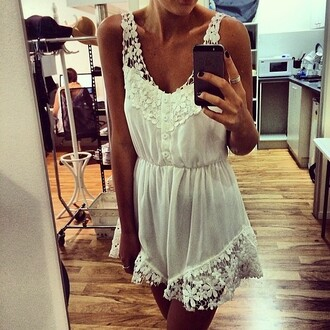 dress white jumpsuit clothes white summer outfits summer jumpsuit romper blonde hair ebonylace.storenvy ebonylace-streetfashion laced dress mini dress dentelle lace sun beach sexy classy fashion