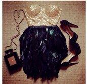 top,black,sequin dress,sequins,gold sequins,black dress,gold dress,feathers,feather dress,feather skirt,sequin top,sequin crop top,sequin bustier,halloween,black and gold dress,black and gold top,party dress,shiny,sparkle,sexy dress,evening dress,costume,prom dress,black prom dress,dress,skirt