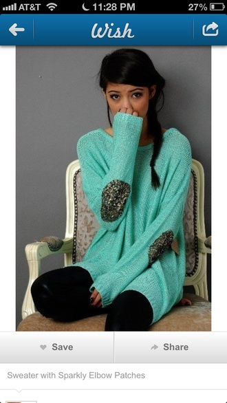 sweater sparkles teal cute winter outfits