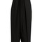 Pleated-overlay self-fastening cropped trousers
