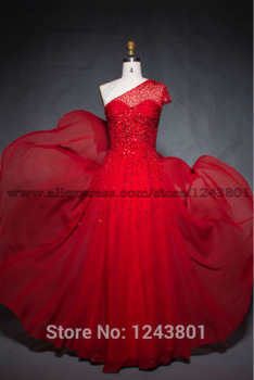 Aliexpress.com : Buy One Shoulder Red Chiffon Long Prom Dresses with hand beaded sequins Cap Sleeve Formal Evening Dresses from Reliable dress up time prom dresses suppliers on FFFDress | Alibaba Group