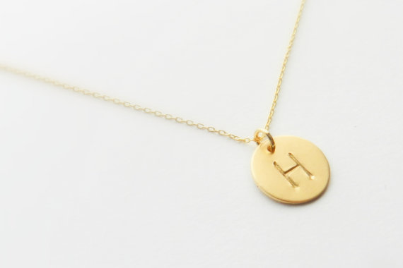 The Shannon Initial necklace. 14k gold. Monogrammed. by BipAndBop
