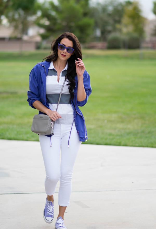 fashion addict blogger windbreaker white jeans