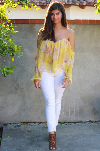 top floral floral top crop tops yellow yellow top chic cute girly off shoulder crop top outfit style summer outfits spring spring outfits spring break jewelry streetstyle beach bustier chiffon