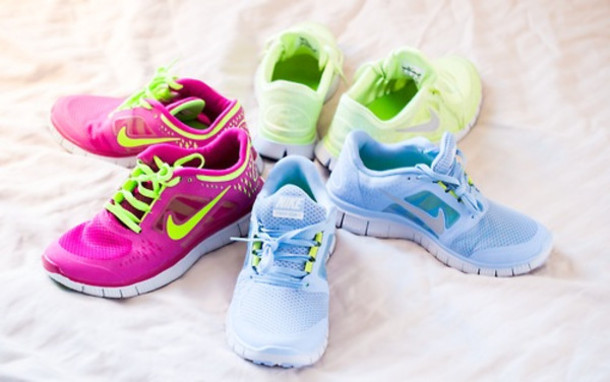 b206ae4852dd shoes nike pink blue white green sneakers trainers running run cute laces  swoosh workout gym comfy