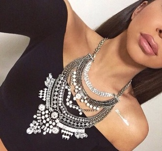 jewels necklace jewelry big necklace silver necklace silver statement necklace bling