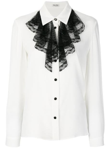 shirt ruffle women spandex white top