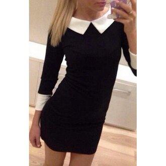 dress black black dress on wednesdays we wear pink peter pan collar goth goth hipster rose wholesale