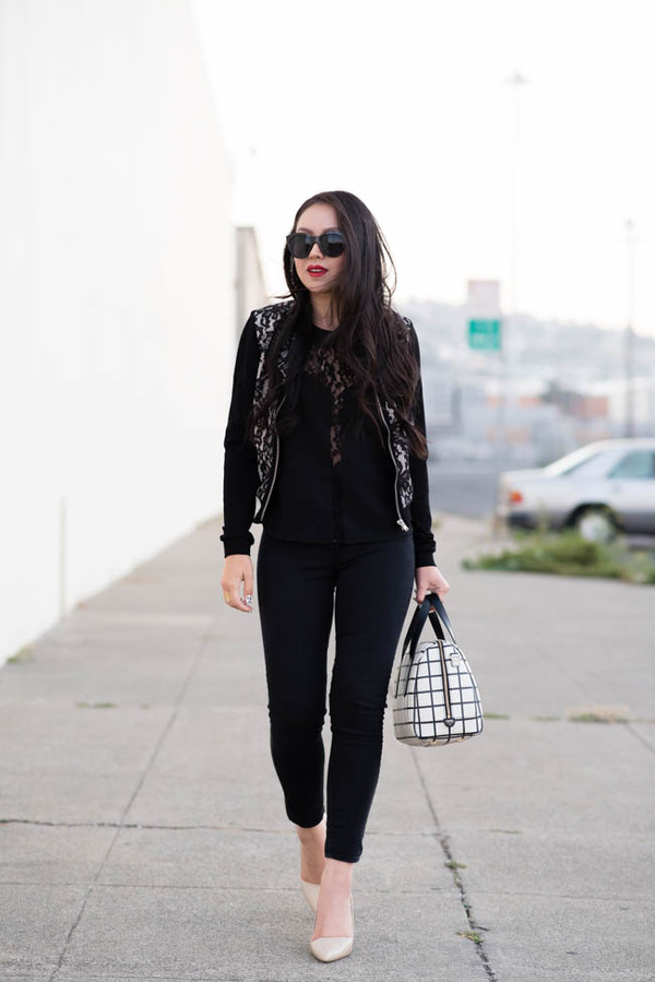 the fancy pants report blogger top jewels sunglasses jacket jeans bag