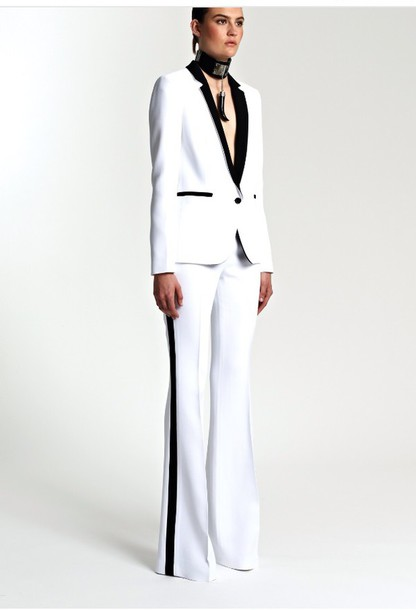 jumpsuit white and black tuxedo jacket pants stripes
