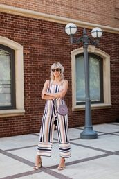 the courtney kerr,blogger,jumpsuit,shoes,bag,sunglasses,jewels,sandals,high heel sandals,round bag,crossbody bag,tumblr,stripes,striped jumpsuit,cropped jumpsuit,sandal heels