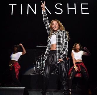 tinashe crop tops black white plaid skirt leather pants pants shirt shoes