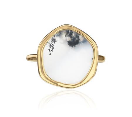 Atlantis Gem Ring In 18ct Gold Plated Vermeil On Sterling