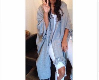cardigan kimono oversize grey poncho