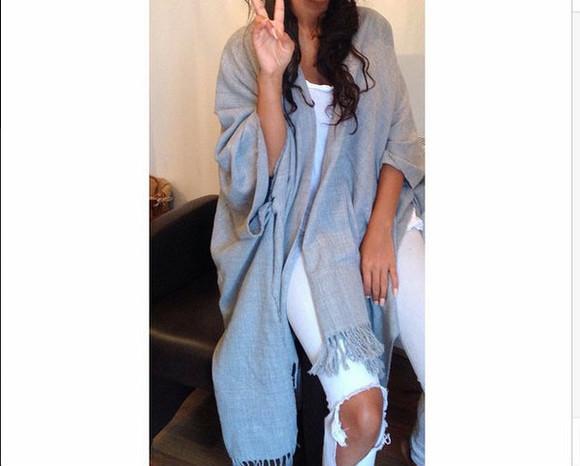 oversize grey cardigan kimono poncho