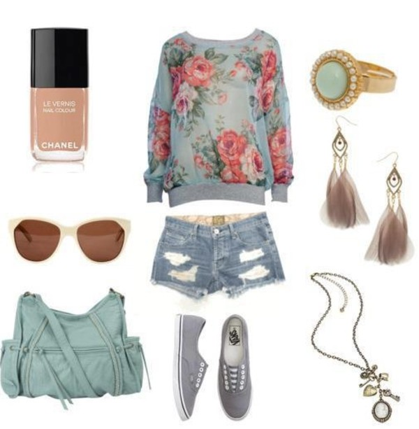 shirt flowers nail polish purse shoes feathers gold pink turquoise roses bag jewels shorts sunglasses summer outfits chanel floral vans ring earrings necklace sweater blouse top