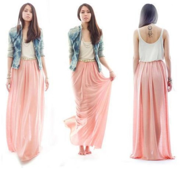 skirt maxi skirt pink skirt denim jacket blue
