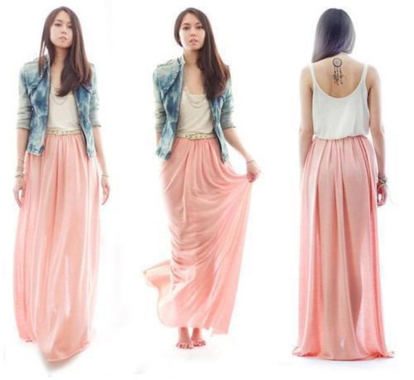 skirt maxi skirt pink long skirt denim jacket blue white tank top jacket dress maxi dress boho light pink skirt pink maxi skirt pink skirt clothes light pink nude pink tan cute baby pink coral chiffon sheer maxi skirt